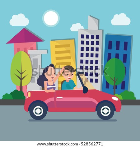 driver with car and woman