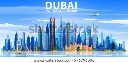 dubai skyline with panorama in