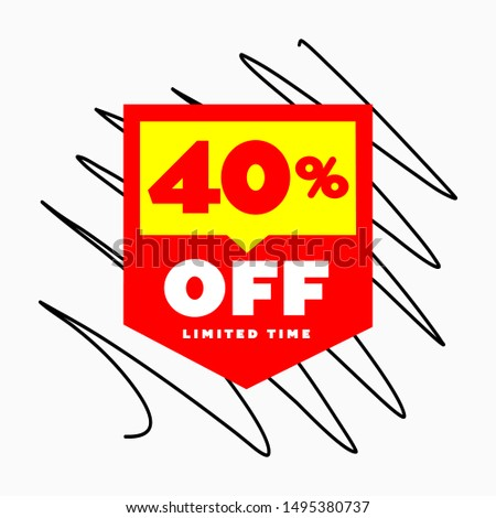 40% E-Commerce Price Tag Design. Online Shopping Price Discount Special Offer up 40% OFF Vector Label.