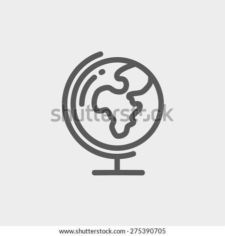 earth globe icon thin line
