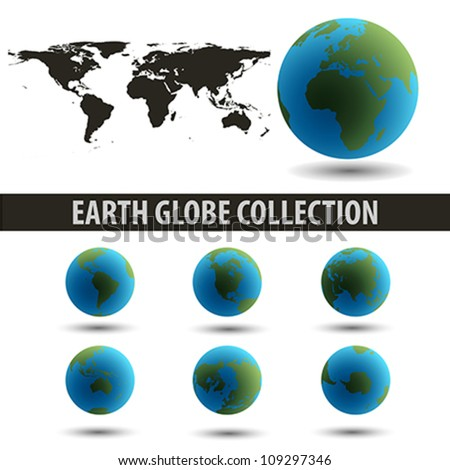 Earth Globes Collection end a map isolated on white. | Vector illustration.