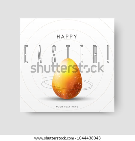 Easter card with a unique and unusual design in a space theme with stars and a golden egg