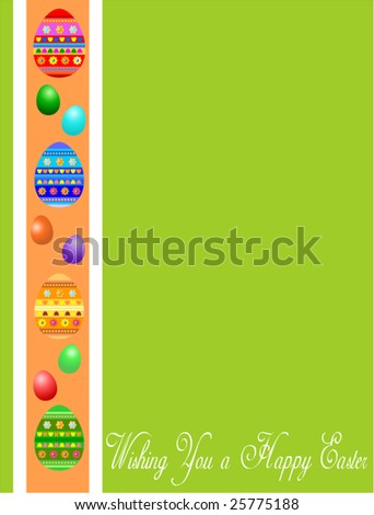 Easter green greeting card with eggs