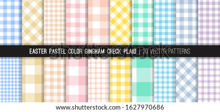 Easter Pastel Rainbow Gingham Check Plaid Vector Patterns. Light Shades of Pink, Coral Orange, Beige, Yellow, Turquoise, Blue, Lilac and Purple. 20 Pixel Perfect Pattern Tile Swatches Included.