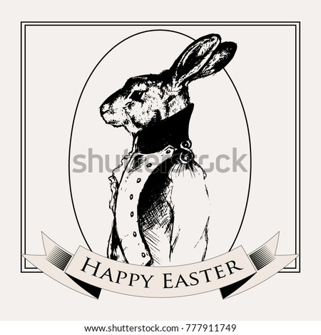 Easter rabbit. vintage black contour Easter bunnies willow rabbit with egg illustration composition for menu, invitation, email, banner, poster, party, event - stock vector. Happy Easter rabbit.