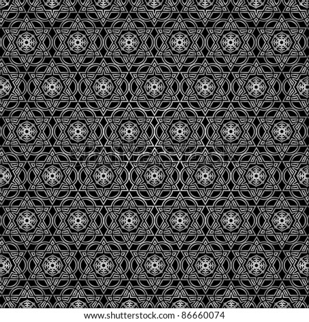 Eastern ornament. Black and white vector.