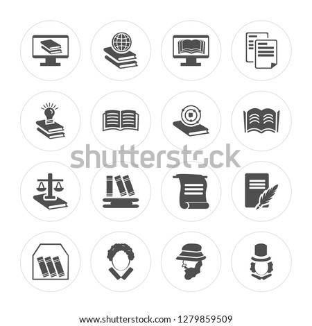 16 Ebook, Browsing, Othello, Book, Letter, Eugene onegin, Idea, Law, Atom modern icons on round shapes, vector illustration, eps10, trendy icon set. #1279859509