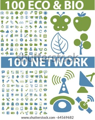 200 eco & bio & network signs. vector - stock vector