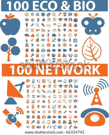 200 eco & bio & network signs. vector - stock vector