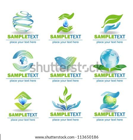 Eco Design Elements, Isolated On White Background, Vector Illustration