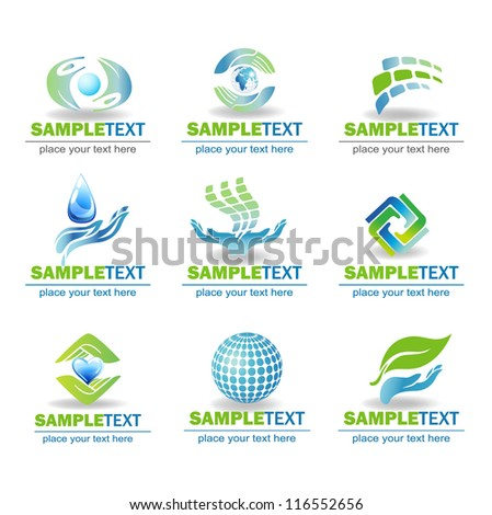 Eco Design Elements, Isolated On White Background, Vector Illustration
