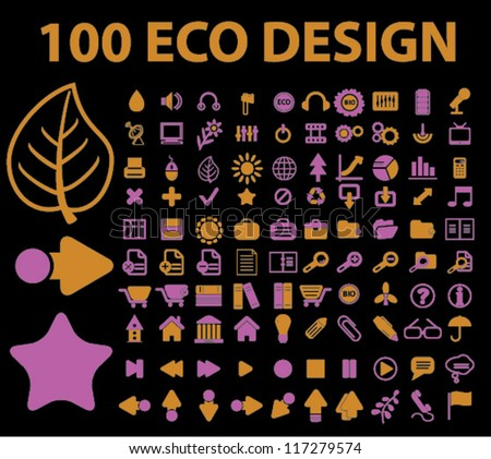 100 eco design icons set, vector