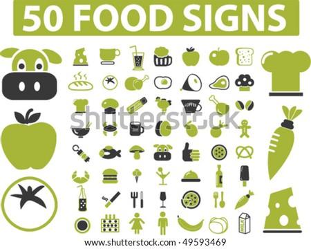 50 eco food signs. vector