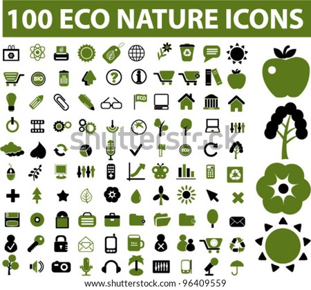 100 eco nature icons set, vector