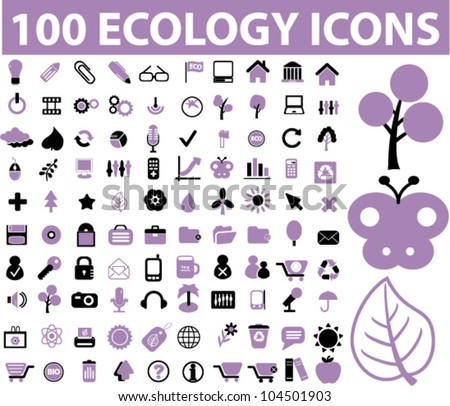 100 ecology icons set, vector
