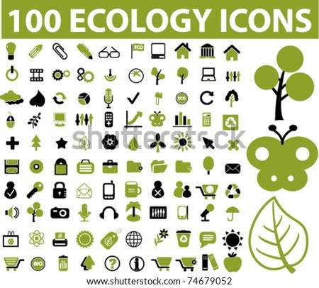 100 ecology icons, vector