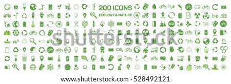 200 ecology & nature green icons set on white background. Vector illustration of Eco, natural, bio