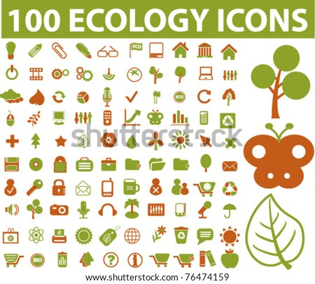 100 ecology & nature icons, signs, vector illustration