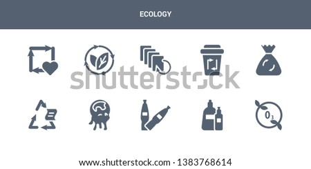 10 ecology vector icons such as ozone layer, plastic, plastic bottle, pollution, recyclable contains recycle bag, recycle bin, recycled paper, renewable, reuse. ecology icons