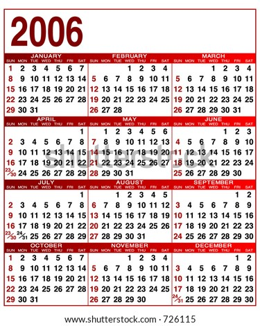 2006 editable calendar, Fonts and colors can be edited