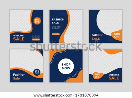 Editable template post for social media ad. web banner ads for promotion design with gradient color.