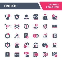 30 Editable vector icons related to financial technology. Symbols such as innovation and technology in financial services are included in this set. Still looks perfect in small size.