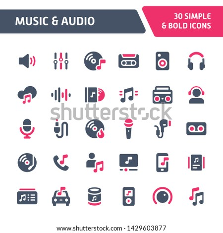 30 Editable vector icons related to music and audio. Symbols such as instrument, audio equipment and audio device are included. Still looks perfect in small size.