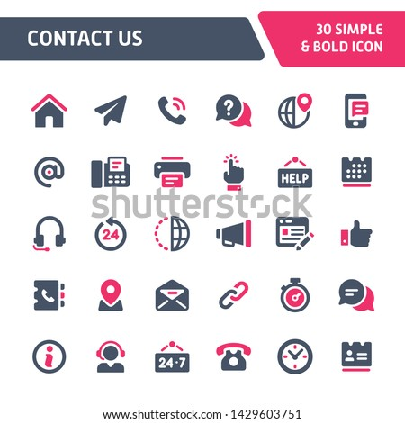 30 Editable vector icons related to website and online contact. Symbols such as contact method and contact form are included in this set. Still looks perfect in small size.