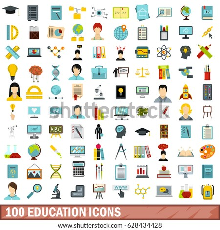 100 education flat icons set. Illustration of education flat icons isolated vector for any design