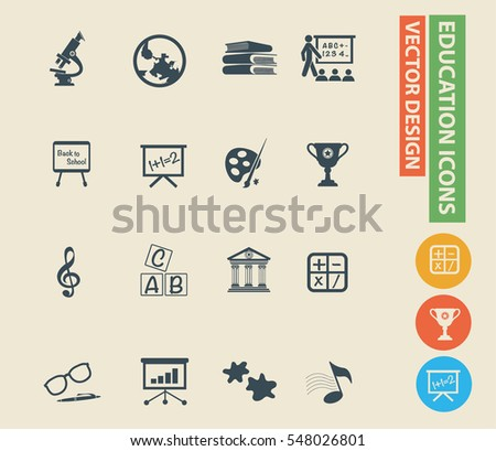 Education icon set,clean vector