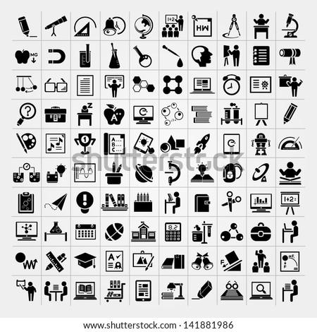 100 education icons set, back to school icons set