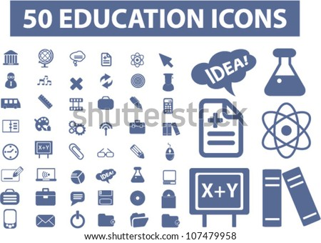 50 education icons set, vector