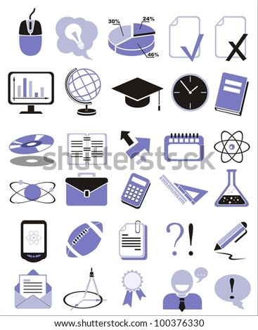30 education icons, signs, vector illustration set