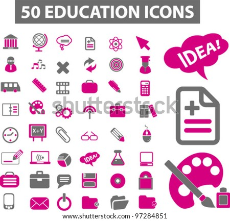 50 education icons, vector