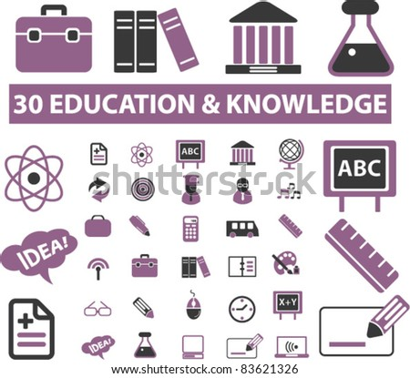 30 education & knowledge icons, signs, vector illustrations