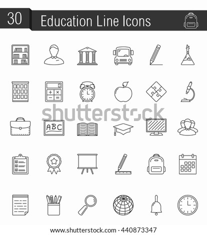 30 education line icons, vector eps10 illustration