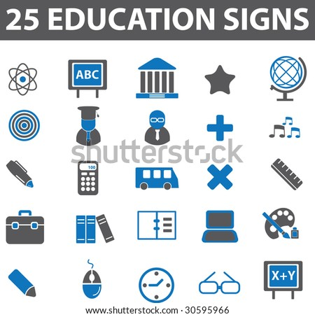 20 education signs.vector