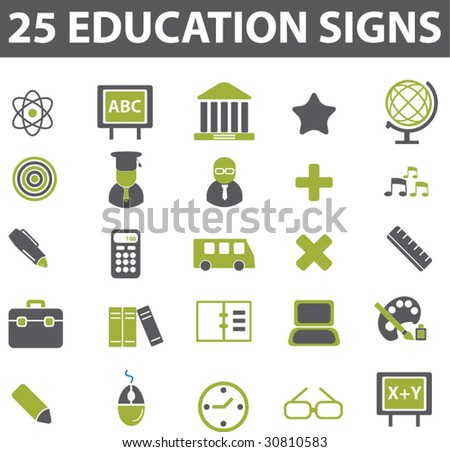 25 education signs. vector. green series.