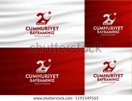 29 ekim cumhuriyet bayrami Day Turkey. Translation: 29 october Republic Day Turkey and the National Day in Turkey. celebration republic. vector set illustration.