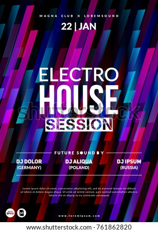 """""""Electro House session"""" party flyer. Dynamic background. Eps10 vector."""