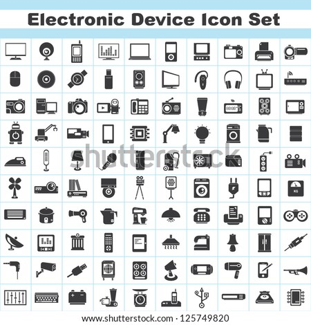 100 electronic device and household icon set