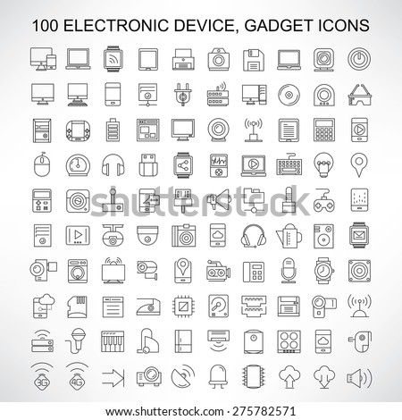 100 electronic device icons, gadget, computer, smart phone, tablet, camera, smart watch, and network icons, thin line icons