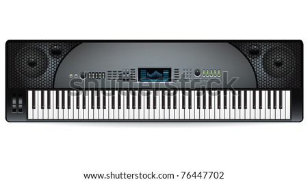 electronic musical keyboard synthesizer - stock vector