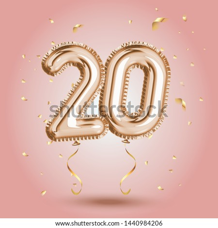 Elegant Pink Greeting celebration twenty years birthday Anniversary number 20 foil gold balloon. Happy birthday, congratulations poster.   Golden numbers with sparkling golden confetti