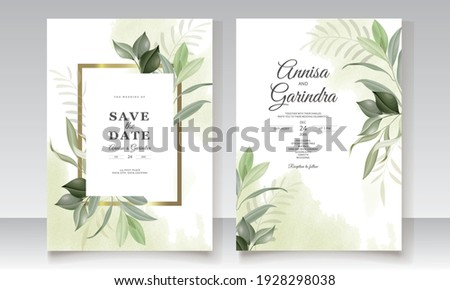 Elegant wedding invitation card leaves