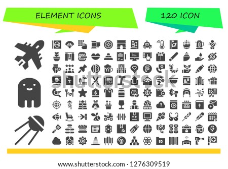 element icon set. 120 filled element icons. Simple modern icons about  - Plane, Sputnik, Ghost, Vinyl, Fan, Password, Film, Shield, Arc, Planning, Police car, Thermometer, Book
