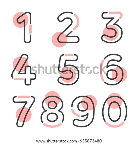 (Element) set of ten numbers form zero to nine, number flat design