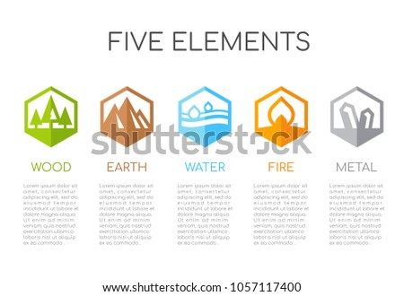 5 elements of nature Hexagon icon sign. Water, Wood, Fire, Earth, Metal. vector design