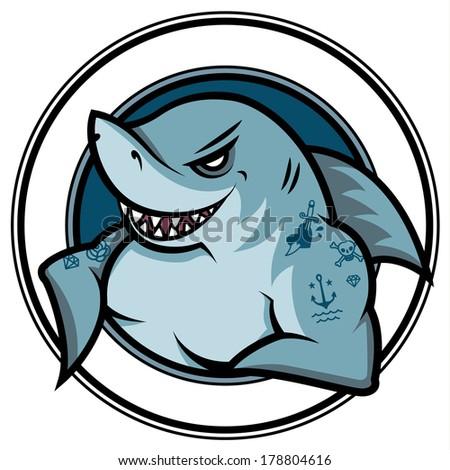 Shark Emblems Emblem Cartoon Smiling Shark