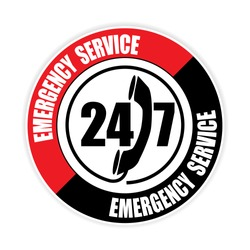 247 emergency service sticker,vector illustration